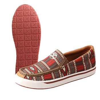 Twisted X Red Grey Aztec Hooey Slip On Shoes