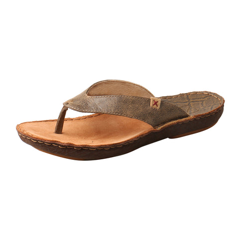 Twisted X Brown Leather Flip Flops