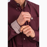 Cinch Men's Burgundy Solid Long Sleeve Shirt