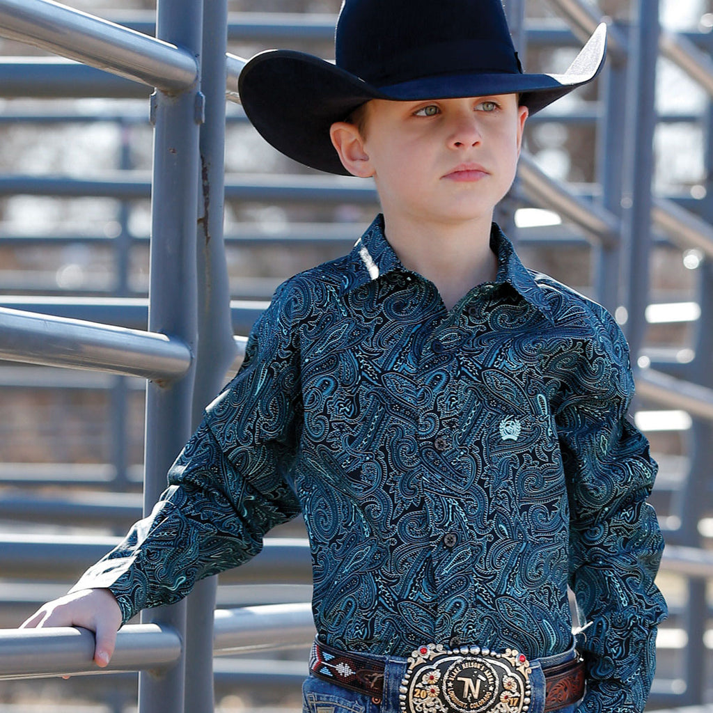 Cinch Kid Black and Turquoise Paisley Shirt