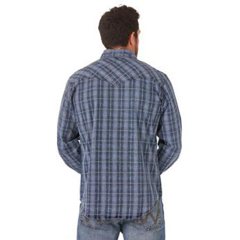 Wrangler Indigo Distressed Plaid Shirt