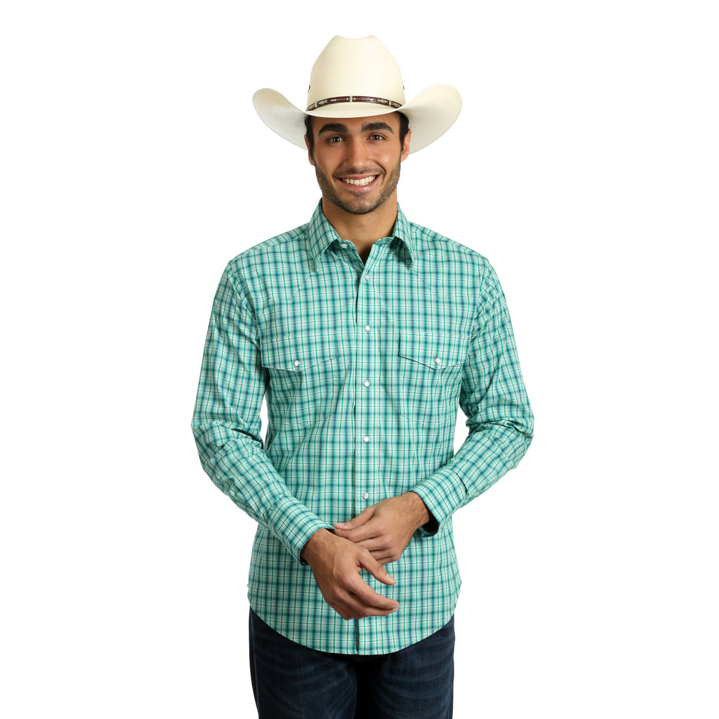 Wrangler Men's Green and Blue Plaid Long Sleeve Shirt