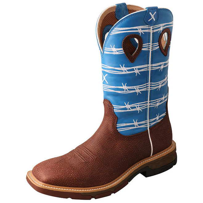 Twisted X Men's Blue Barbwire Cell Stretch Square Toe Boot