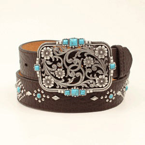Nocona Women's Brown and Turquoise Belt