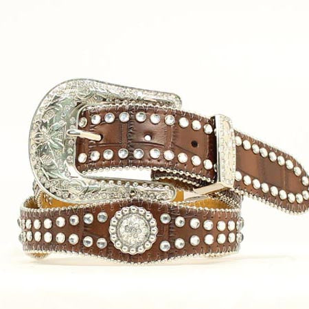 Nocona Girl's Brown Scalloped Rhinestone Belt