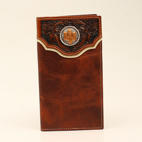 Nocona Floral Tooled with Cactus Concho Checkbook Cover