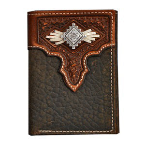Nocona Tri-fold Embossed Overlay with Aztec Concho Wallet