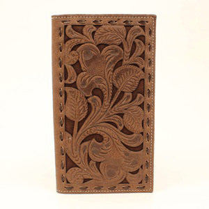 Nocona Rodeo Style Embossed Chocolate Underlay Buck Laced Wallet