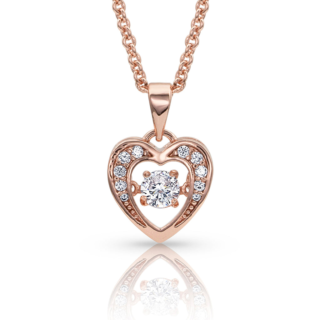Montana Silver Let's Dance A Little Dance Rose Gold Heart Necklace