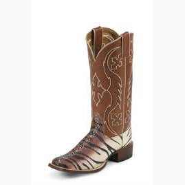 Nocona Beige Tiger Stripe Square Toe Boot