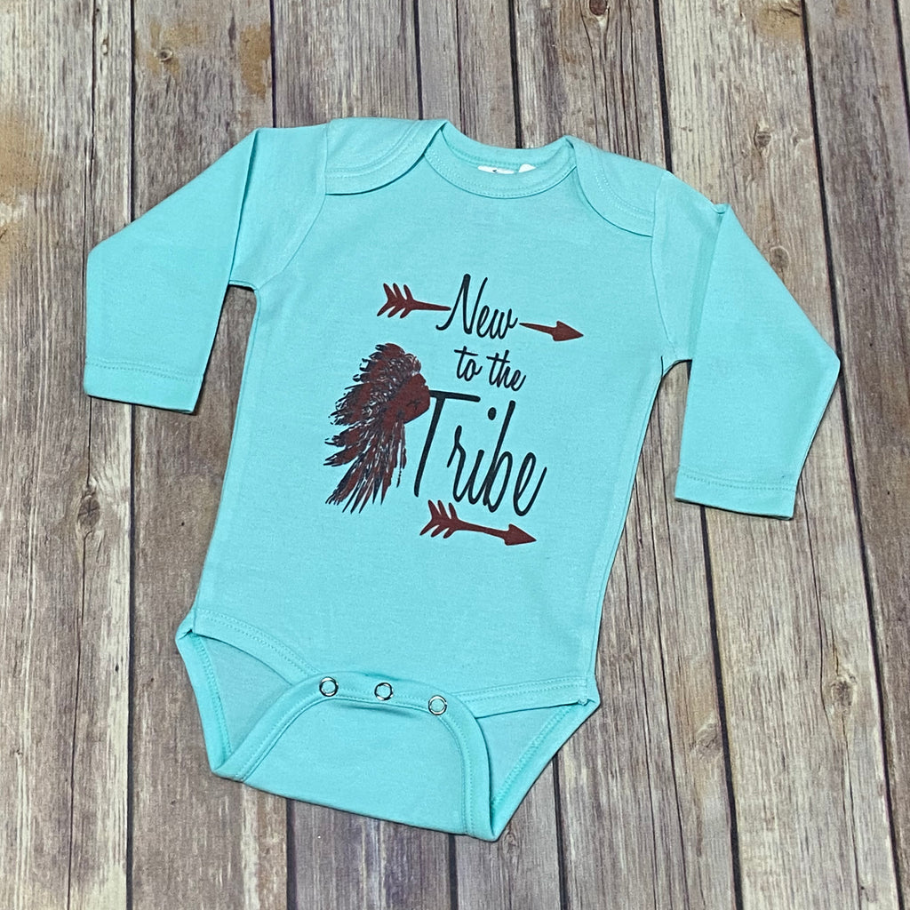 Turquoise New Tribe Long Sleeve Onesie