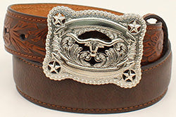 Nocona Kid's Brown Belt with Tooled Buckle