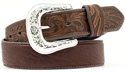 Nocona Men's Brown Bullhide Floral Belt