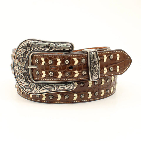 Women's Brown and White Chevron Studded Belt