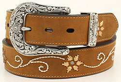 Nocona Women's Brown Floral Embroidered Belt