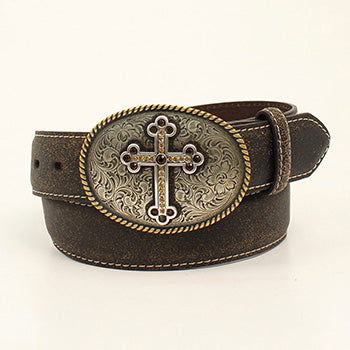 Nocona Brown Distressed Belt with Antique Cross Buckle