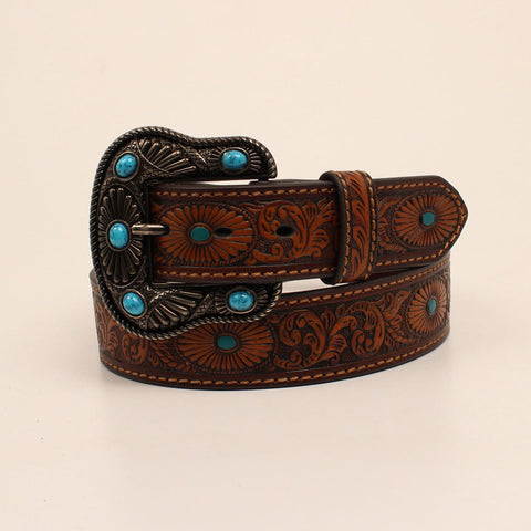 Nocona Women's Brown and Turquoise Floral Stone Belt