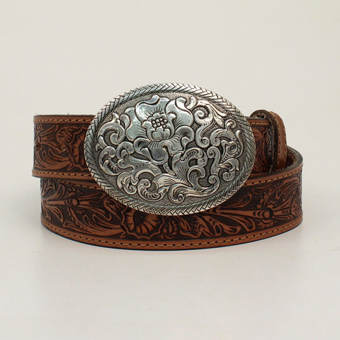 Nocona Women's Tan Floral Belt with Floral Buckle