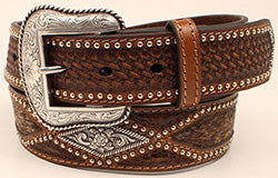 Nocona Calf Hair Overlay Large Diamond Shaped Concho Belt