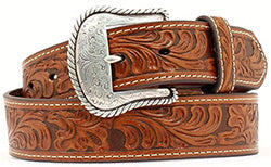 Nocona Men's Chestnut Floral Embossed Belt