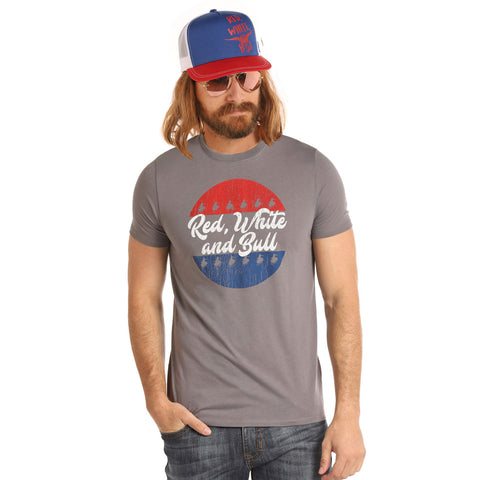 "Rock & Roll Cowboy Dale Brisby Grey ""Red White and Bull"" Tee"