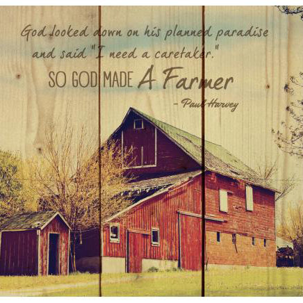 """So God Made a Farmer"" Wooden Sign"