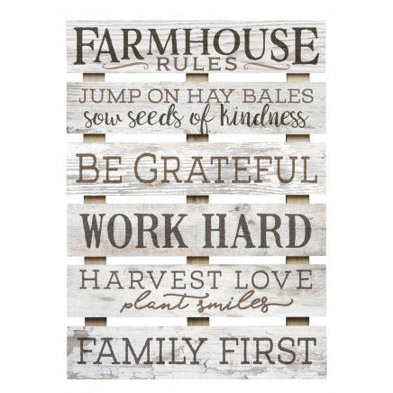 """Farmhouse Rules"" Large Wooden Pallet Sign"