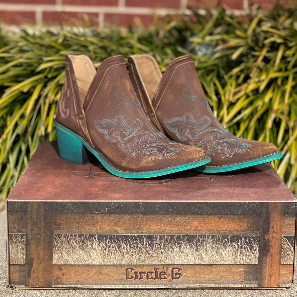 Corral Brown and Turquoise Booties
