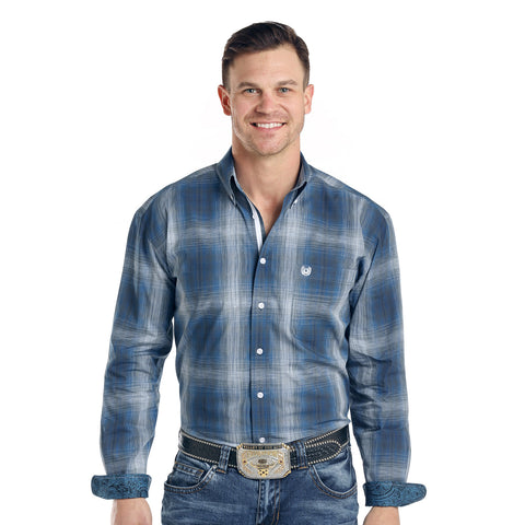 Panhandle Men's Blue and Grey Faded Plaid Long Sleeve Shirt