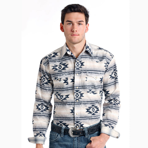 Panhandle Slim Grey and Tan Aztec Long Sleeve Shirt