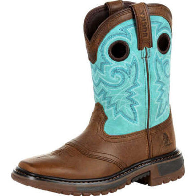 Kid's Brown and Teal Square Toe Boots