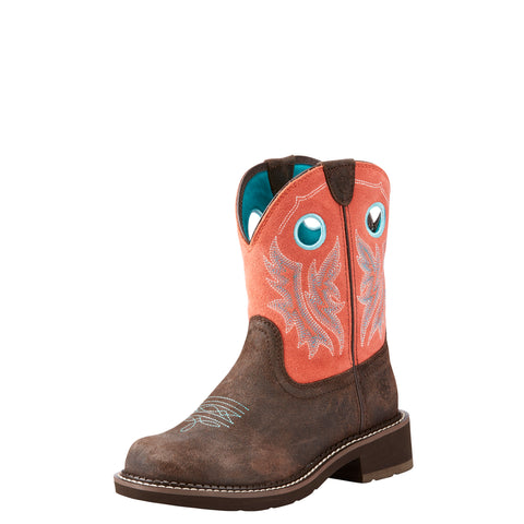 Ariat Women's Fatbaby Heritage Chocolate and Coral Boot
