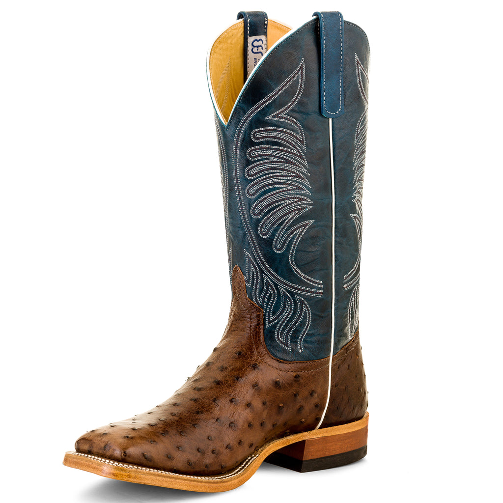 Anderson Bean Tobacco & Teal Square Toe Boots