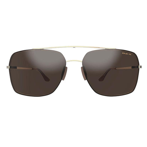 BEX Gold and Brown Pilot Sunglasses