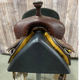 "The Duke, Double J Barrel Saddle with Basket Weave Background.  14"" seat"