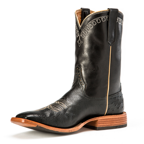 Rios of Mercedes, Black Smooth Quill Ostrich Square Toe
