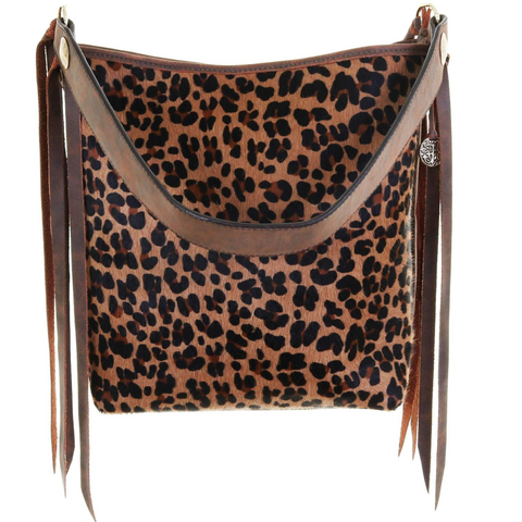 Double J Saddlery Leopard Hair Messenger Bag