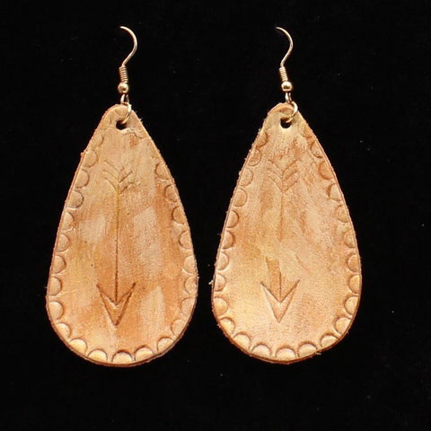 Brown Leather Tear Drop Arrow Earring