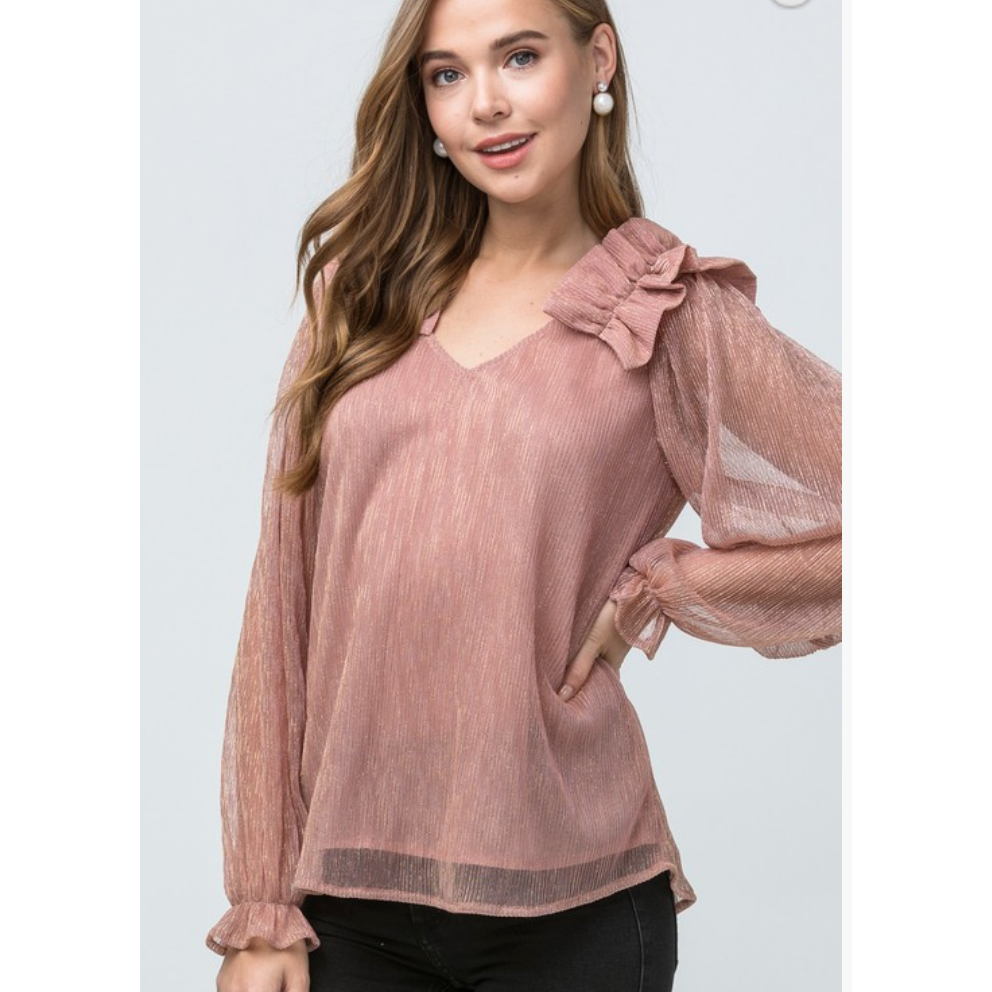 Blush Metallic Thread Ruffle Top