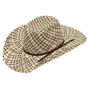 Kid's Ivory, Tan, and Brown Weave Straw Hat