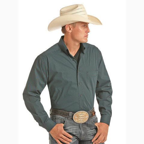 Panhandle Men's Black and Turquoise Small Circle Tuf Cooper Long Sleeve