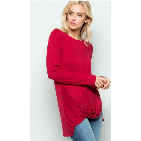 Burgundy Long Sleeve Draped Front Blouse