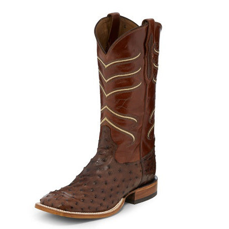 Tony Lama Men's Brown and Red Full Quill Ostrich Square Toe Boot