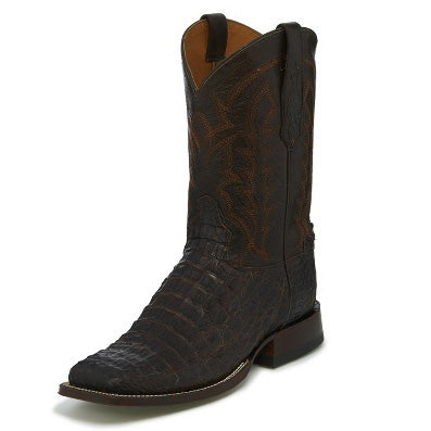 Tony Lama Men's Dark Brown Hornback Caiman Square Toe Boot