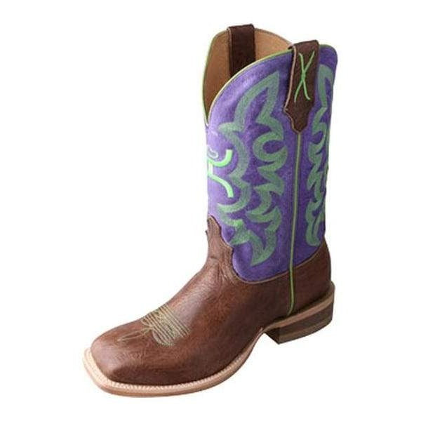 Twisted X Kid's Brown Shoulder Purple Hooey Square Toe Boots