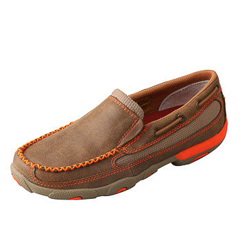 Twisted X Youth Brown and Orange Slip On
