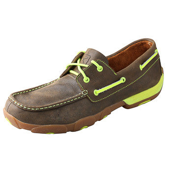 Twisted X Women's Brown and Neon Yellow Driving Moc