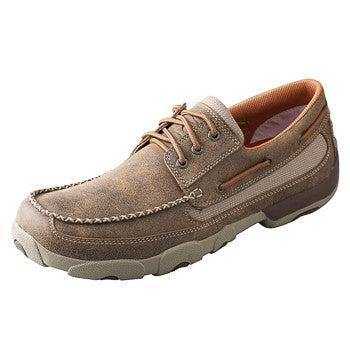 Twisted X Men's Brown and Tan short Lace up driving moc