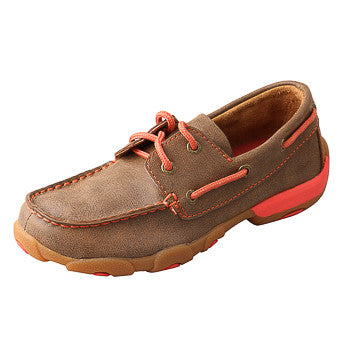 Twisted X Kids Brown and Coral Driving Moc