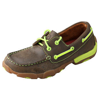 Twisted X Kids Brown and Neon Yellow Driving Moc